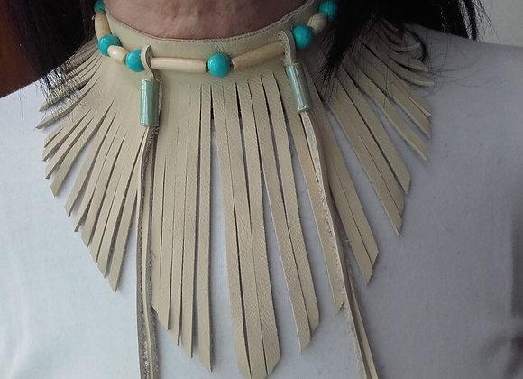 Choker style Amérindien 1 rang os , cuir frangé - ref C 77