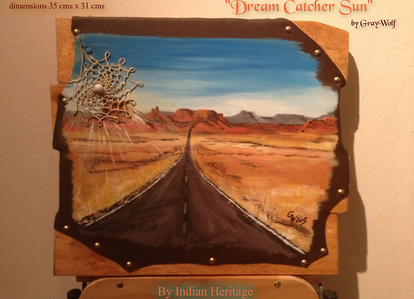 Dream catcher Sun - route USA - peinture originale sur cuir
