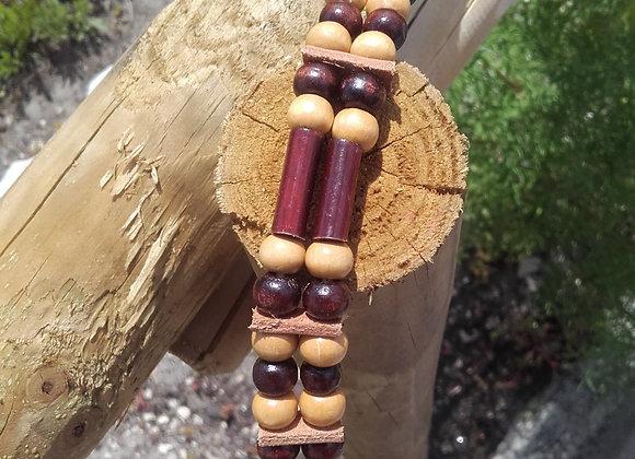 Bracelet style Amérindien, 2 rangs, perles bois beiges et marrons - Ref: B 272