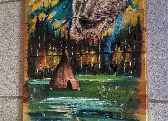 Tipi, montagne loup - peinture sur bois recyclé - ref: I'll always be there