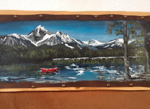 Canoé - rivière - montagne - On Snake river - Idaho - USA - peinture sur cuir