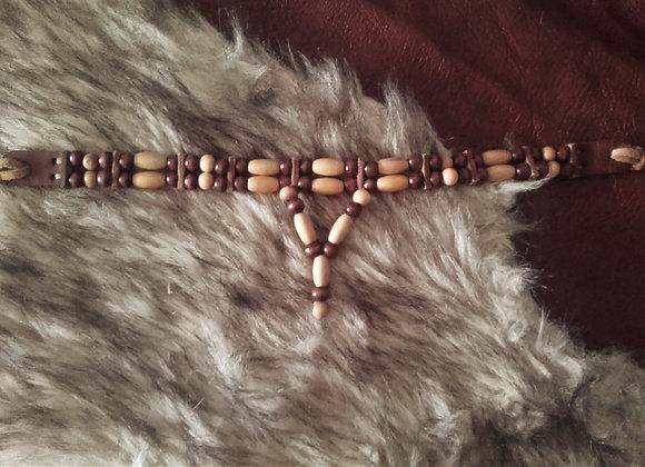 Choker style Amérindien 2 rangs perles bois - ref: C 21