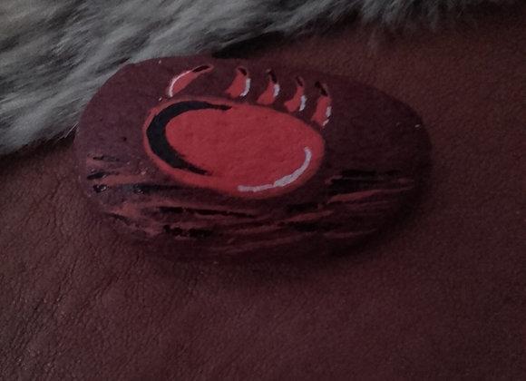 Pierre médecine peinte à la main en couleur - patte d'ours  - ref: Bear paw 4