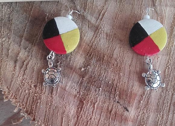 Boucles d'oreilles roue médecine 4 couleurs tortue couleur argent - ref: BO 1MW3
