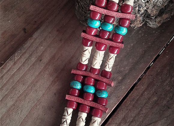 Bracelet os, bordeaux et turquoise - Ref: B 320