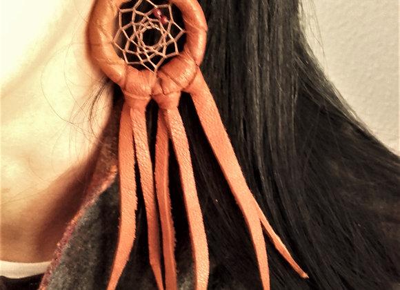 Boucles d'oreilles attrape-rêves cuir - ref: BO 20 DC
