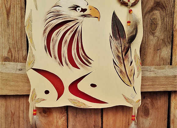 Aigle, plume - bois découpé peint: ref: Clan de l'Aigle