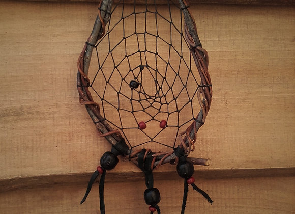 Attrape rêves  naturel, forme de raquette - ref: DC 180104