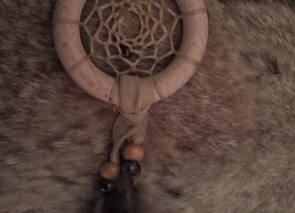 Attrape rêves bois naturel, perles bois et perles de verre - ref: DC 190111