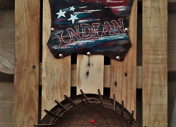 Indian Dream catcher peinture sur cuir , attrape-rêves incorporé au tableau