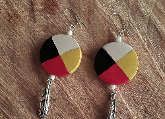 Boucles d'oreilles roue médecine 4 couleurs, plume  - ref: BO 1MW5