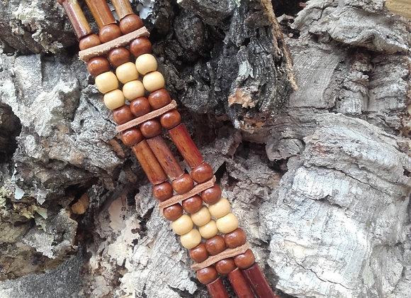 Bracelet style Amérindien, 3 rangs, perles bois - Ref : B 276