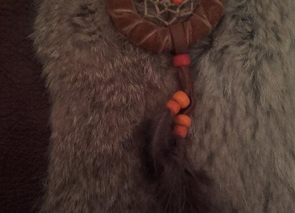 Attrape rêves bois et suèdine marron, perles oranges - ref: DC 190105