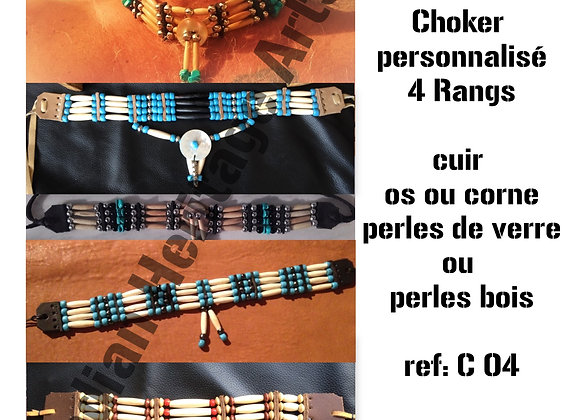 Choker style Amérindien 4 rangs  personnalisation - ref: C 04