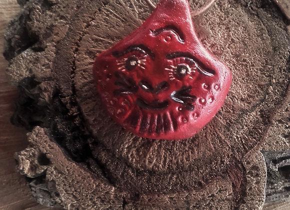 Pendentif terre cuite rouge et marron - style masque - ref: Pmex11