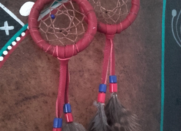 Boucles d'oreilles attrape-rêves cuir rouge - ref: BO 22 DC