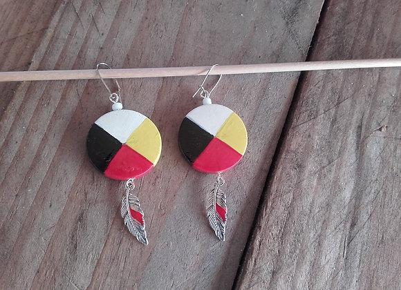 Boucles d'oreilles roue médecine 4 couleurs, plume couleur argent - ref: BO 1MW2
