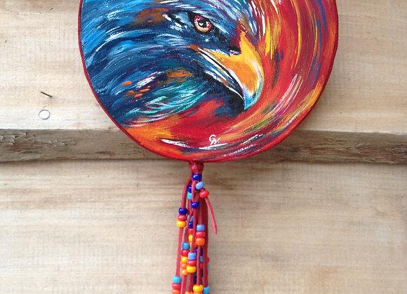 Eagle of fire - Aigle de feu - peinture  originale, toile ronde