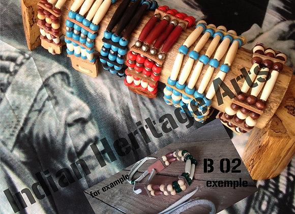Bracelet Amérindien, 2 rangs, SUR COMMANDE à personnaliser - ref: B 02