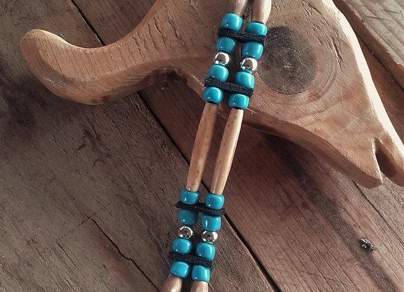 Bracelet style Amérindien, 2 rangs, os et perles de verre bleue - Ref: B 318