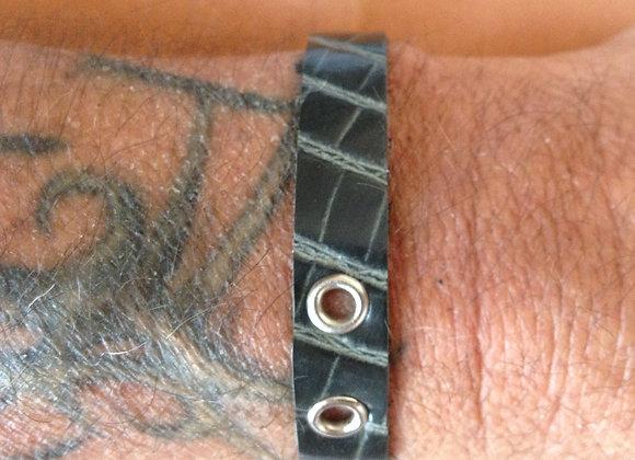 Bracelet cuir gris imprimé  : Ref : BL 1