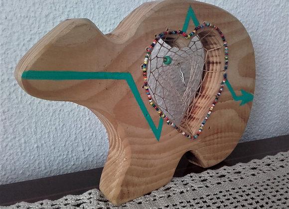 Attrape rêves ours Zuni en bois et perles de verre - ref: DC 170102