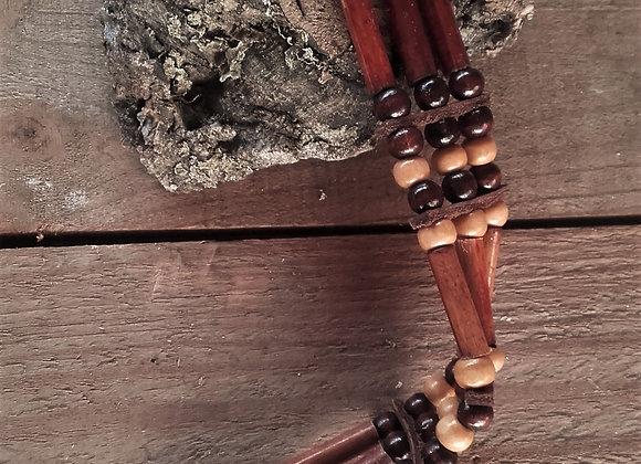 Bracelet style amérindien - perles bois - Ref: B 328