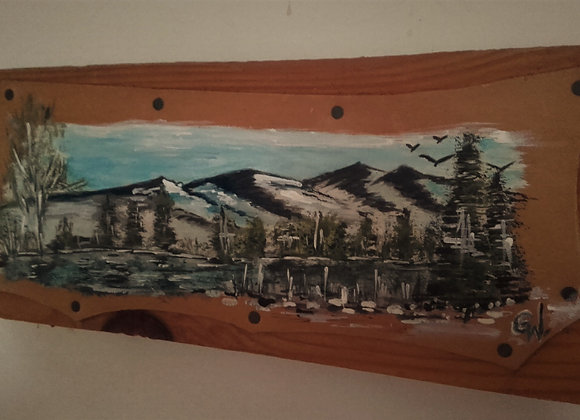 Alaska mountains - peinture sur cuir originale
