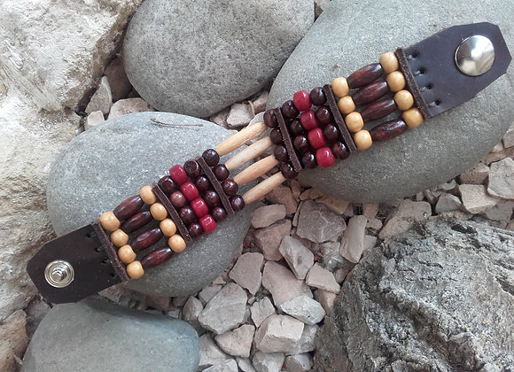 Bracelet Amérindien, 4 rangs, os et perles bois - Ref: B 259
