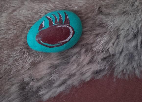 Patte d'ours, pierre peinte à la main en couleur - ours - ref: Bear paw 5