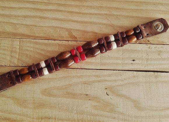 Bracelet style amérindien perles de verre et bois  - Ref: B 343