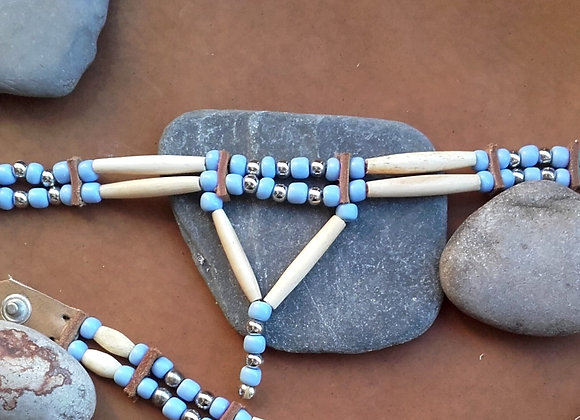 Choker style Amérindien 2 rangs os et perles de verre - ref: C 74