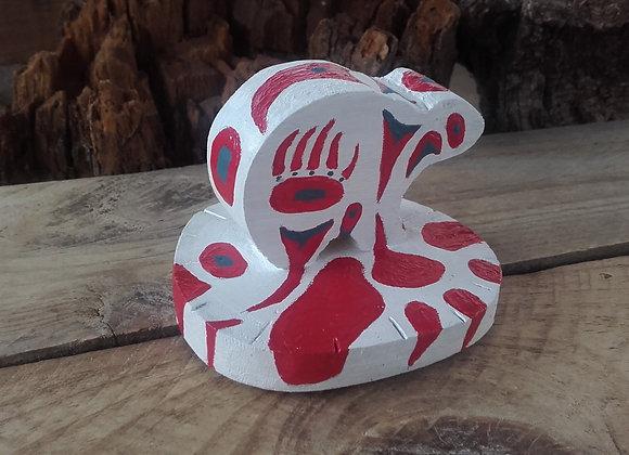 Ours polaire en bois peint style Haïda - le sang des ours blancs - Ref: HB 3