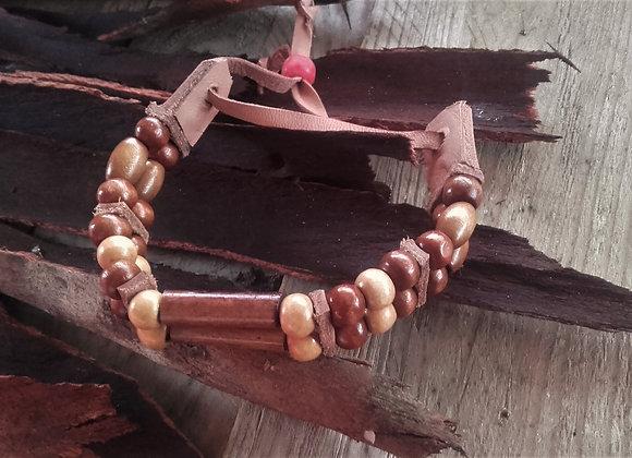 Bracelet style Amérindien, 2 rangs,  perles bois : Ref : B 32