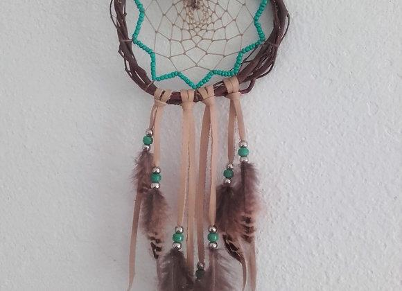 Attrape rêves  naturel, saule, perles  bleu/vert turquoise - ref: DC 180603