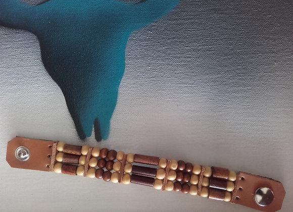 Bracelet style Amérindien, 3 rangs, perles bois - Ref: B 271