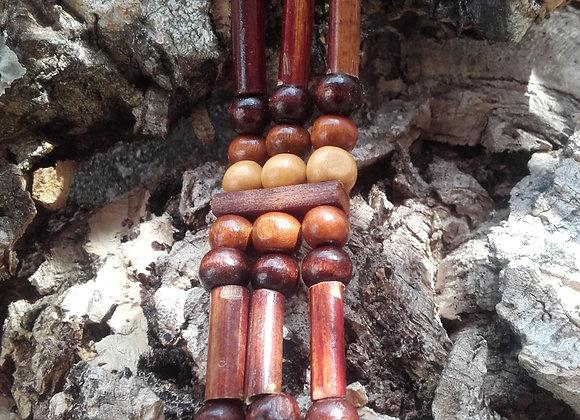 Bracelet style Amérindien, 3 rangs, perles bois - Ref: B 274