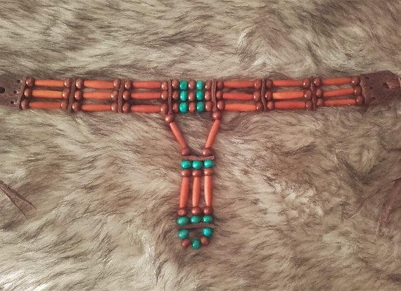 Tour de cou style Amérindien 3 rangs corne et bois - ref: C122