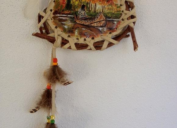 """Bouclier de protection - peinture sur cuir """"Canoe Ojibway"""" ref: M 150601"""