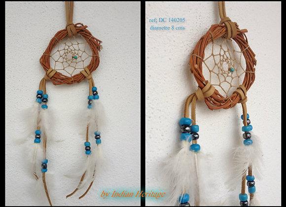 Attrape rêves  bois naturel, bleu et blanc - ref: DC 140205