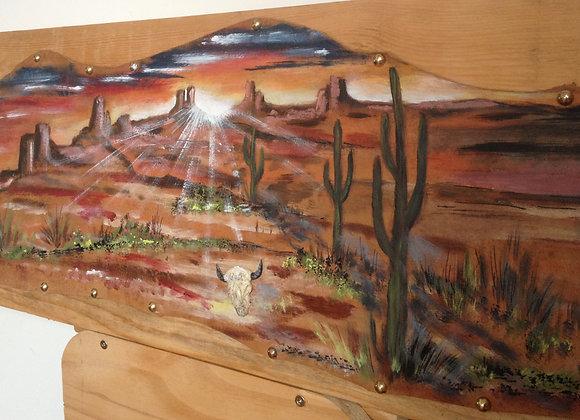 Paysage Arizona - End of the day in Arizona - USA - peinture originale sur cuir