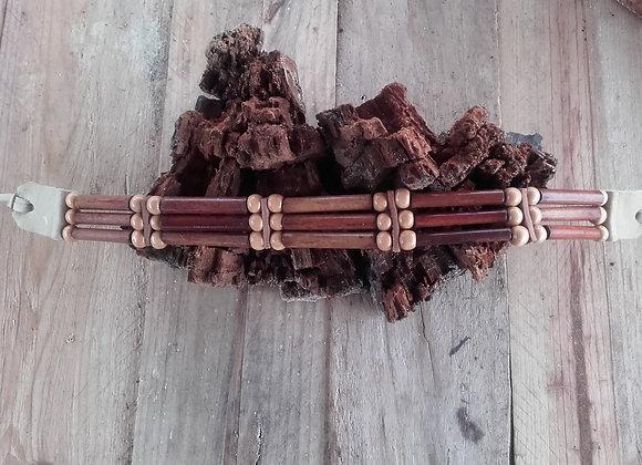 Choker style Amérindien, entièrement bois - 3 rangs  - ref: C 105