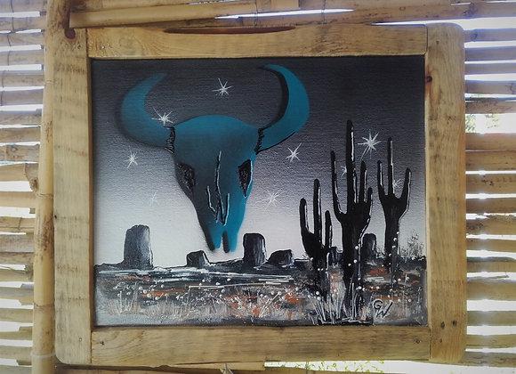 Arizona Spirit  - peinture originale - skull - cactus