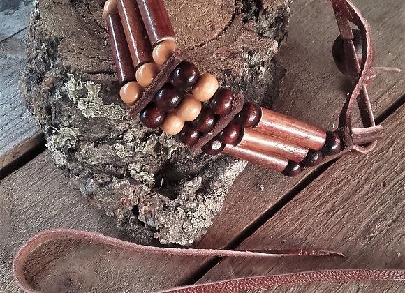 Bracelet style amérindien entièrement perles bois - Ref: B 327
