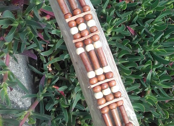 Bracelet Amérindien, 3 rangs, perles bois - Ref: B 278