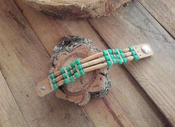 Bracelet style Amérindien, 3 rangs, os, perles bois et vert d'eau - Ref : B 77
