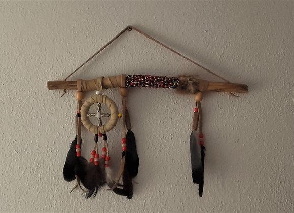 Bâton de parole amérindien, naturel, roue médecine - ref: BP 28