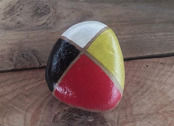 Pierre peinte à la main - 4 couleurs des 4 Directions - ref: 4 couleurs 2