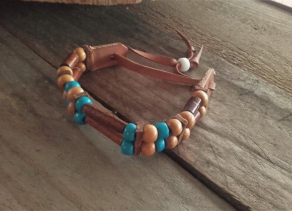 Bracelet style Amérindien, 2 rangs, perles bois - Ref: B 249