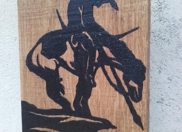 End of the trail - pyrogravure et peinture originale sur bois